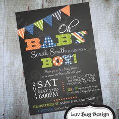 Boy Baby Shower Invitation Printable Birthday by luvbugdesign