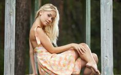 Blonde woman in a floral dress