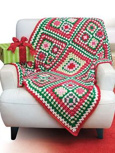 Crochet a Christmas afghan using this granny square pattern