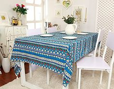 Moldiy 1 pc Bohemian Style Geometric Design Rectangle Tablecloth Linen with Lace Edge Table Cloth Dinning Table inch),Blue Tablecloth Rental, Tablecloths For Sale, Linen Tablecloth, Table Linens, Rooms Home Decor, Room Decor, Dining Table In Kitchen, Dining Rooms