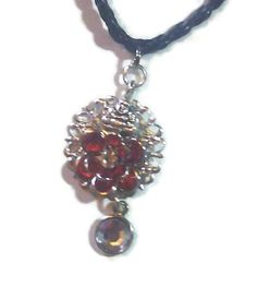 Red Lotus Flower with CZ Center Buddha Charm Filigree Necklace with CZ Dangle