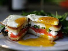 Smoked Salmon, Asparagus and Goat Cheese Grilled Cheese with Fried Egg