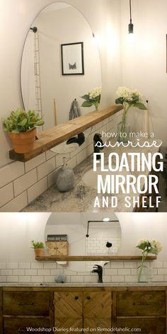 Give an inexpensive basic round mirror a modern update with this DIY sunrise floating mirror and shelf -- perfect for a bathroom vanity, but great for an entryway, too. Tutorial from Woodshop Diaries on Remodelaholic.com #bathroomshelves