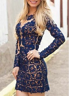 Fine Quality Long Sleeve Hollow Back Crochet Dress on sale only US$16.56 now, buy cheap Fine Quality Long Sleeve Hollow Back Crochet Dress at martofchina.com