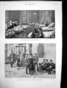 Antique Print of Crisis Crete Wounded Turkish Women Hospital Canea 1897