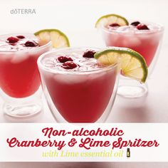Specialty drinks are an easy and delicious way to get into the holiday spirit. This non-alcoholic Cranberry & Lime Spritzer is a festive, fun, and delicious addition to complement any meal during the holidays.  Click here for recipe: http://doterrablog.com/essential-recipe-non-alcoholic-cranberry-lime-spritzer/