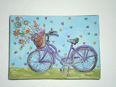 7 X 5 Acrylic Painting Of A Vintage Bicycle With Lime Green Ribbon On