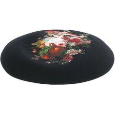 CA4LA Floral Beret (6.564.350 VND) ❤ liked on Polyvore featuring accessories, hats, beret hats, ca4la hats, wool berets, ca4la and floral print hat