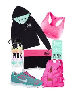 """Gym in pink"" by kacy-franke on Polyvore"