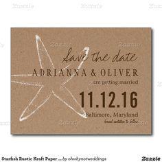 Starfish Rustic Kraft Paper Wedding Save The Date