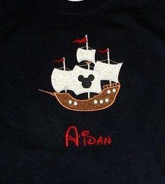 Custom Appliqued shirt Disney Pirate Ship by SewglitzyStudio, $22.00