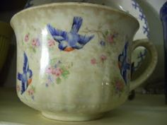 Vintage bluebird cup from the Meadowview Farm blogspot.