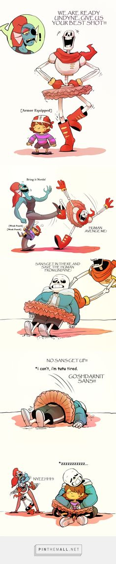 Undyne, Papyrus, Sans, and Frisk - comic XD this is cute