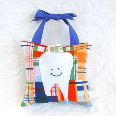 Tooth Fairy Pillow in Navy Blue and Tangerine Orange Nautical Madras Print