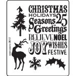 Tim Holtz designed the Season's Silhouettes Cling Mounted Rubber Stamp Set for Stampers Anonymous. This versatile set is a must-have for all sorts of Christmas Tim Holtz Stamps, Ink Stamps, Christmas Words, Christmas Art, Christmas Ideas, Christmas Images, Christmas Projects, Stampers Anonymous, Christmas Scrapbook