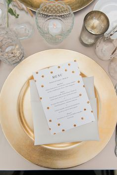 Gold Plates and Gold Glitter Polka-Dot Menus | Wedding Paper Divas | La Belle Fleur Events | Artistrie Co. https://www.theknot.com/marketplace/artistrie-co-chicago-il-396240 |