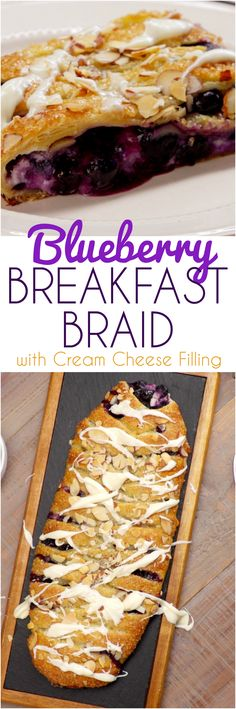 Everyone will think you brought this blueberry breakfast braid home from the bakery -- but we'll show you how quick and easy it is to braid ripe blueberries and rich cream cheese filling into golden p Breakfast Pastries, Sweet Pastries, Breakfast Dishes, Breakfast Recipes, Just Desserts, Delicious Desserts, Dessert Recipes, Yummy Food, Camping Breakfast