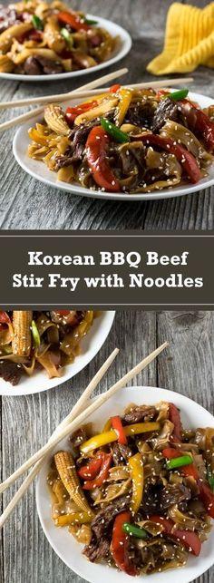 Korean BBQ Beef Stir Fry with Noodles recipe via @foxvalleyfoodie