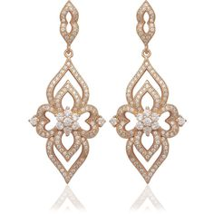 La Preciosa Rose-plated Sterling Silver Micro Pave CZ Dangle Earrings ($45) ❤ liked on Polyvore featuring jewelry, earrings, silver, sterling silver dangle earrings, long earrings, druzy earrings, butterfly dangle earrings and cubic zirconia drop earrings