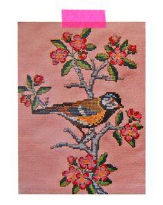 vintage embroidery postcard