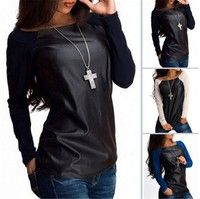 Wish | New Sexy Womens Leather Long Sleeve Sweatshirt T-Shirt Casual Loose Blouse Tops
