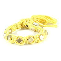 Yellow Vintage Ribbon Large Faceted Beads Knotted Bracelet #ettika #rocker #rockandroll #jewelry #accessories #yellow