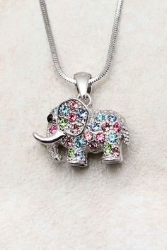 Silver Crystal Elephant Pendant | Emma Stine Jewelry Necklaces