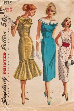 Este patrón de costura vintage de simplicidad fue diseñado en 1957. Es un  Vestido ajustado 5f7025bde08