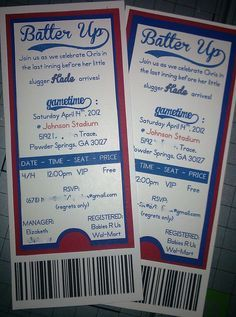 Baby shower baseball ticket invitations