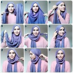 I have collected hijab styles step by step tutorial. It consists of steps required to wear beautiful hijab styles. These steps for hijab styles are easy. Square Hijab Tutorial, Simple Hijab Tutorial, Hijab Style Tutorial, Pashmina Hijab Tutorial, Islamic Fashion, Muslim Fashion, Hijab Fashion, Fashion Hair, Fashion Outfits