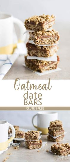 Gluten Free Date Bars / This delicious cookie bar is made sugar free - entirely sweetened by dates! A deliciously chewy treat. | SUNKISSEDKITCHEN.COM | #glutenfree #datebars #datebar #sugarfree #healthydessert