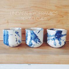lindafaheyceramics -- indigo splash cups