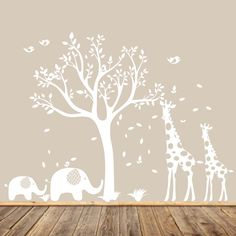 White Nursery Tree Decal, Animal Nursery Art, Baby Nursery Tree, Gender Neutral Nursery Tree, Modern Wall Art, Giraffe and Elephants by AppleandOliver on Etsy https://www.etsy.com/listing/214035680/white-nursery-tree-decal-animal-nursery