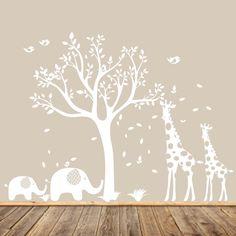 White Nursery Tree Decal, Animal Nursery Art, Baby Nursery Tree, Gender Neutral Nursery Tree, Modern Wall Art, Giraffe and Elephants by AppleandOliver on Etsy https://www.etsy.com/listing/214035680/white-nursery-tree-decal-animal-nursery