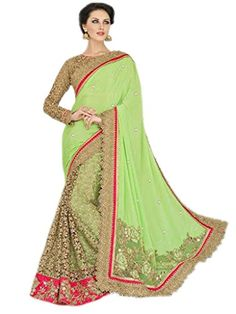 Shoppingover Bollywood Saree with Blouse in Georgette&Net…