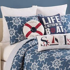 C&F Home Maritime Nautical Ships Wheel Full/Queen 3 Piece Quilt Set Nautical Bedding, Coastal Bedding, King Quilt Sets, Queen Quilt, Quilted Bedspreads, Twin Quilt, Mattress Brands, Space Furniture, Comforter Sets