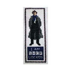 Sadly, this adorable Sherlock bookmark from the Etsy website is just a pattern and not an actual bookmark.  There are no ready-made cross-stitched ones for those of us without cross-stitching skills.
