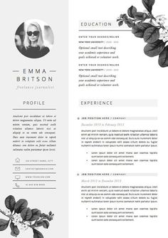 Resume Template 4page CV Template Cover por TheResumeBoutique