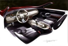 Rendering of the interior of the 2005 Chevrolet Camaro by Julien Montousse