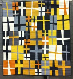 Group or Bee Quilt, Place – Kelsey's Crosses Kansas City Modern Quilt Guild, Missouri (QuiltCon - Award Winning Quilts from Christa Quilts! Strip Quilts, Quilt Blocks, Kansas City, Plus Quilt, Cross Quilt, Quilt Modernen, Contemporary Quilts, Fabric Art, Quilting Designs