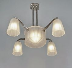 (ebay - paravas)   French art deco chandelier by HETTIER & VINCENT