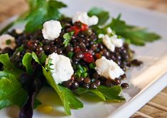 "Black Beluga Lentil Salad with Goat Cheese: Not only do the tiny jet-black lentils resemble beluga caviar in appearance, they also possess a warm, nutty flavor that is not unlike that of their namesake.  Their mild, but distinctive ""legume"" flavor melds beautifully with vinaigrettes and marinades, and accommodates itself well to soups and stews too."