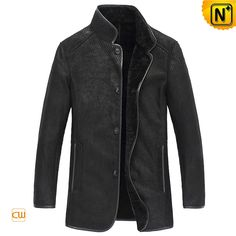 Designer black sheepskin jacket for men made of genuine Australian sheep leather exterior and Spanish Merino shearling interior to keep you warm in winter, shop this high end sheepskin mens jacket at cwmalls.com!