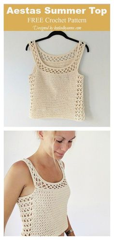 Aestas Summer Tank Top Free Crochet Pattern : Aestas Summer Top Free Crochet Pattern The Aestas Summer Tank Top Free Crochet Pattern is crocheted in breathable worsted cotton with decorative openwork panels down the sides. Débardeurs Au Crochet, Gilet Crochet, Crochet Motifs, Crochet Vests, Crochet Granny, Free Crochet Top Patterns, Crochet Ideas, Crochet Girls Dress Pattern, Crochet Baby