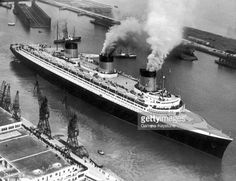 The Ocean Liner Normandie Leaving Le Havre For Its First Transatlantic . Ss Normandie, Paddle Boat, Steamboats, Cruise Ships, Queen Mary, Titanic, Yachts, Vintage Travel