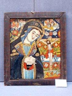 IcoanăMaica Domnului îndurerată - Muzeul Judeţean Mureş. Secţia de Etnografie şi… Kristen Konst, Sacred Art, Virgin Mary, Madonna, Folk Art, Religion, Angels, Cool Stuff, Glass