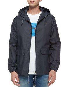 Hooded Tech Windbreaker Jacket, Blue by A.P.C. at Neiman Marcus.