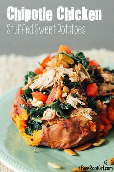 Chipotle Chicken Sweet Potatoes via barerootgirl.com