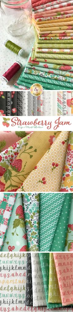 Strawberry Jam is a delightful summertime collection by Corey Yoder for Moda Fabrics. Collection includes FQ set, Layer cake and yardage. Pillos, Shabby Fabrics, Quilt Binding, Fabric Yarn, Liberty Fabric, Sewing Projects For Beginners, Fabric Wallpaper, Loom Knitting, Quilting Projects