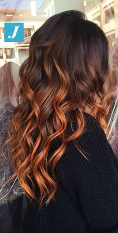 ideas hair copper ombre balayage ombre Haar ideas hair co. Hair Color Balayage, Copper Balayage Brunette, Copper Highlights On Brown Hair, Copper Hair Colors, Color Highlights, Auburn Balayage Copper, Auburn Hair Copper, Balayage Ombre, Balayage Hair Copper